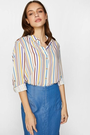 Kadın Ekru Renkli Çizgili Gömlek 60370 U60370 resmi