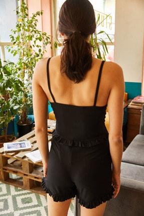 Olalook Kadın Siyah Askılı Fırfırlı Pijama Takımı 4