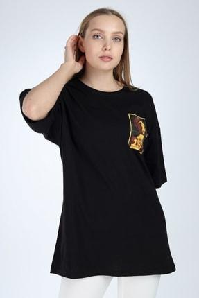 Millionaire Kadın Siyah Stop Baskılı Oversize T-Shirt 3