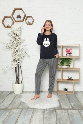 Akasya Kadın Uzun Kollu Ve Nakışlı Cepli Kışlık Pijama Takımı 1651 0