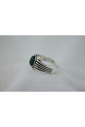 GİZA SİLVER Yeşil Akik Taşlı 925 Ayar Gümüş Erkek Yüzük 2