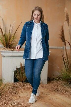 Rmg Kadın Mavi Püskül Detaylı Uzun Kot Ceket 3
