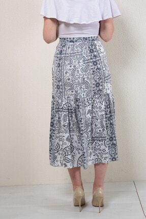 Reyon Kadın Lacivert Desenli Uzun Etek 3