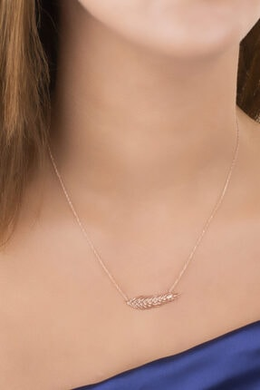 Diversity Jewelry Kadın Gümüş Zirkon Taşlı Rose Şans Tüyü Kolye 0