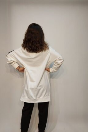 SOUL BY LOREEN FASHİON Kadın Beyaz Cepli Fermuarlı Trend Tarz Sweat Tunik 3