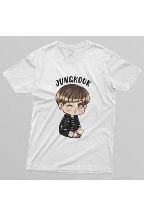 Crazy Bts Cartoon Jungkook Chibi Erkek Tişört 3