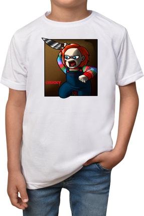 Unisex Çocuk Beyaz Chucky T-shirt T-16 Chucky-t-16