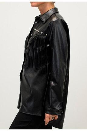Shoppingdimoda Kadın Siyah Püskül Taşlı Detay Deri Gömlek 2