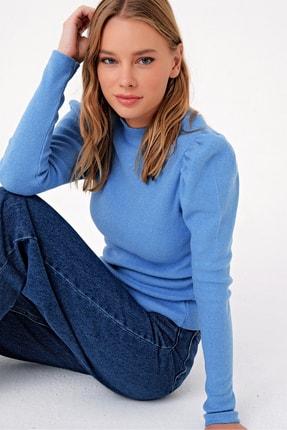 Trend Alaçatı Stili Kadın Mavi Prenses Kol Yarım Balıkçı Şardonlu Crop Bluz ALC-X5042 1