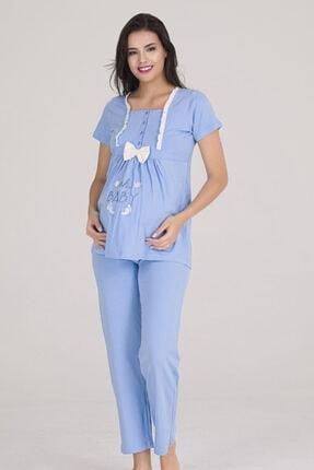 Sevil Giyim Kadın Mavi 4 Düğmeli Fiyonklu Nakışlı Hamile Pijama Takımı 1