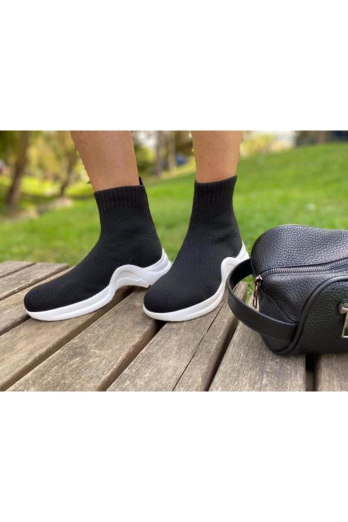 selinyükselshoes Kadın Siyah Triko Spor Ayakkabı