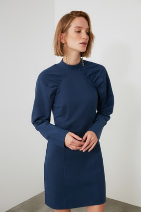 TRENDYOLMİLLA Lacivert Kol Detaylı Elbise TWOAW21EL2002 0