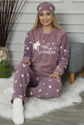 Pijamaevi Mor Hello Winter Desenli Kadın Peluş Pijama Takımı 0