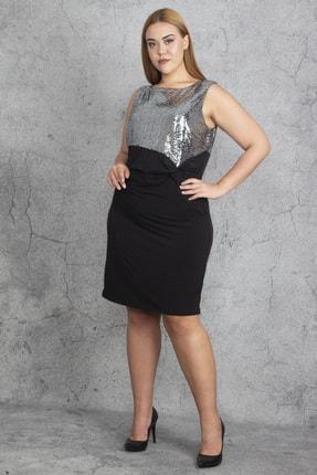 Şans Kadın Siyah Payet Ve Bel Bel Detaylı Elbise 65N19197 2