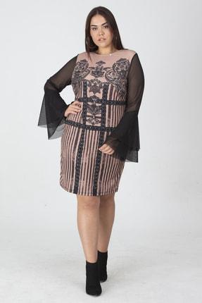 Şans Kadın Siyah Taş Detaylı Kolları Tül Volanlı Elbise 65N19138 0