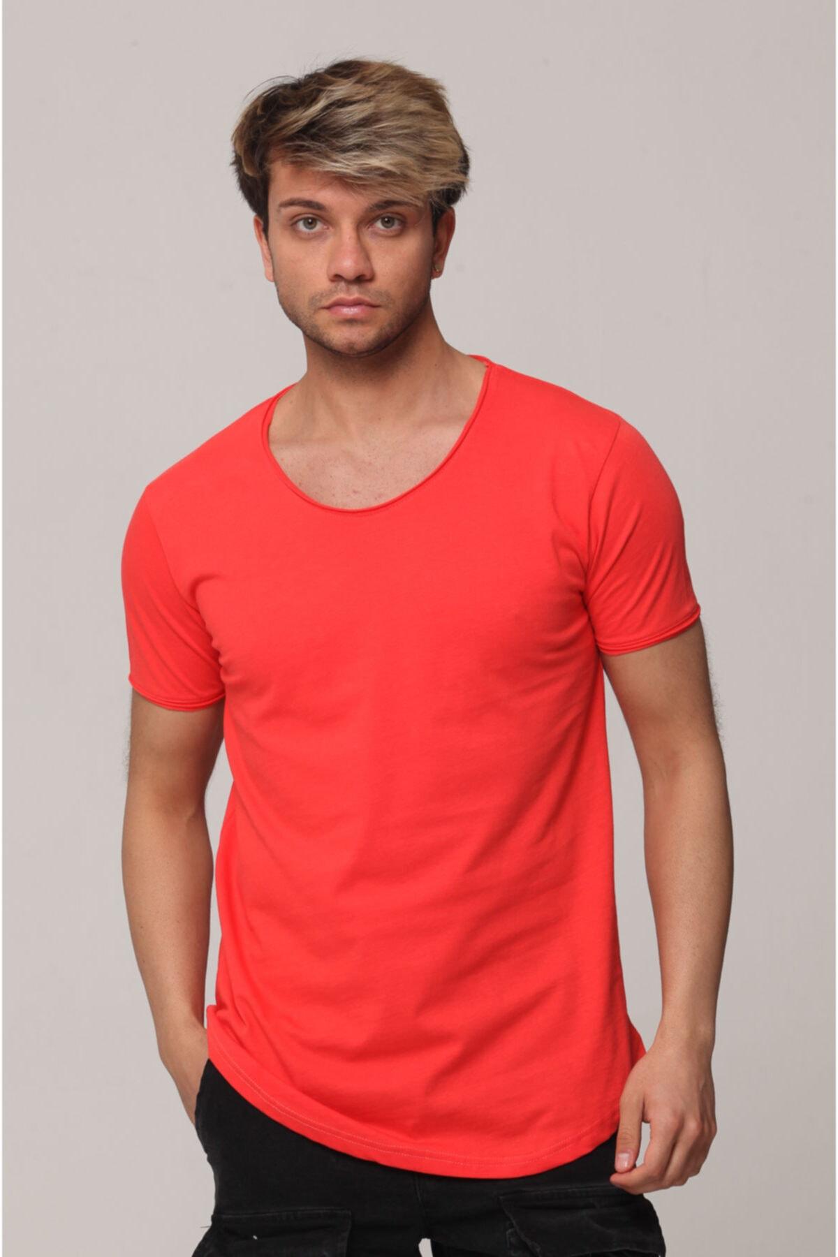 Tarz Cool Erkek Nar Çiçeği Pis Yaka Salaş T-shirt
