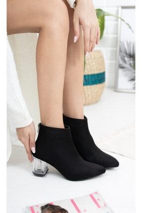 Moda Değirmeni Siyah Süet Kadın Şeffaf Topuk Bot Md1050-116-0001 2