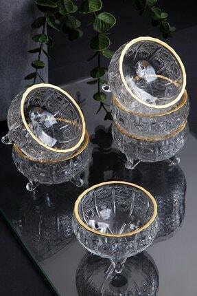 Queen's Kitchen 6 Adet Kristal Yaldızlı Cam 3 Ayaklı Lüx Lokumluk-çerezlik 0