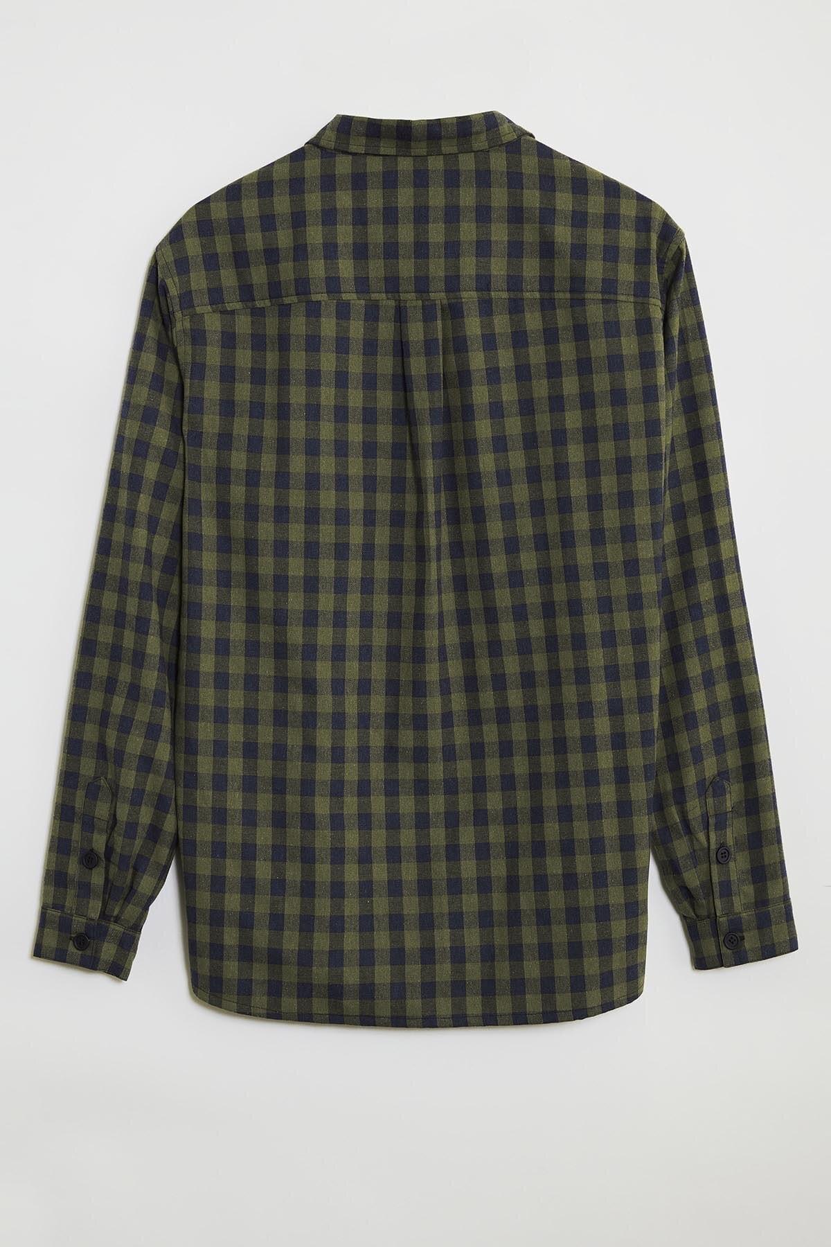GRIMELANGE BRETT Erkek Yeşil Kareli Regular Gömlek 3