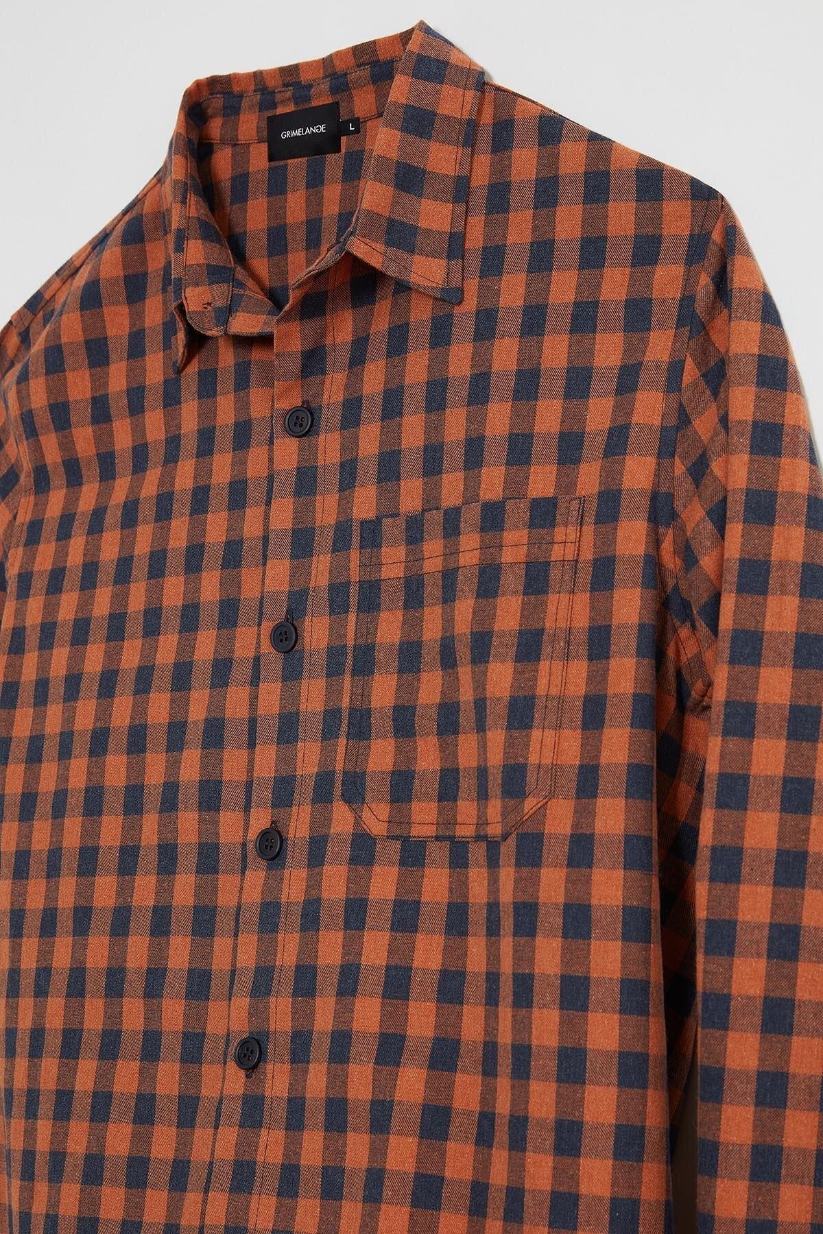GRIMELANGE BRETT Erkek Turuncu Kareli Regular Gömlek 1