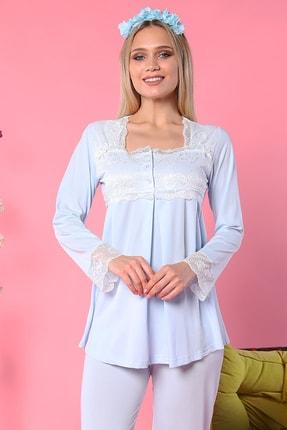 Emose Kadın Mavi Dantelli Lohusa Pijama Takımı 0