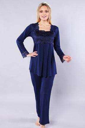 Emose Kadın Lacivert Dantelli Lohusa Pijama Takımı 1
