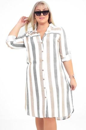Picture of Kadın Haki Renkli Çizgili Viskon Büyük Beden Gömlek Elbise S-20Y3570007