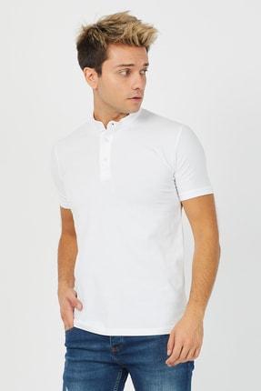 Tarz Cool Erkek Beyaz Hakim Yaka Pamuklu Slim Fit Likralı T-shirt - Ht001r04 2