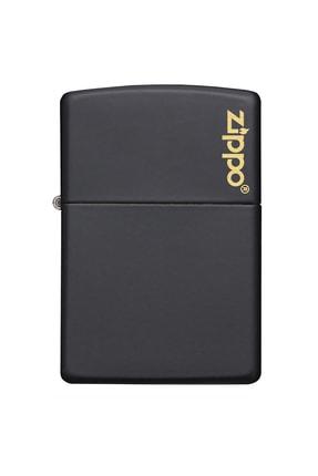 Zippo Çakmak Black Matte Siyah Logo 218Zl-000023 0