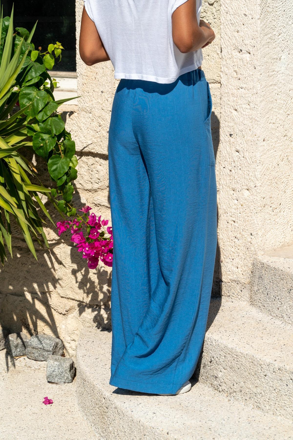 Güneşkızı Kadın İndigo Keten Beli Lastikli Salaş Pantolon GK-BST2933 2