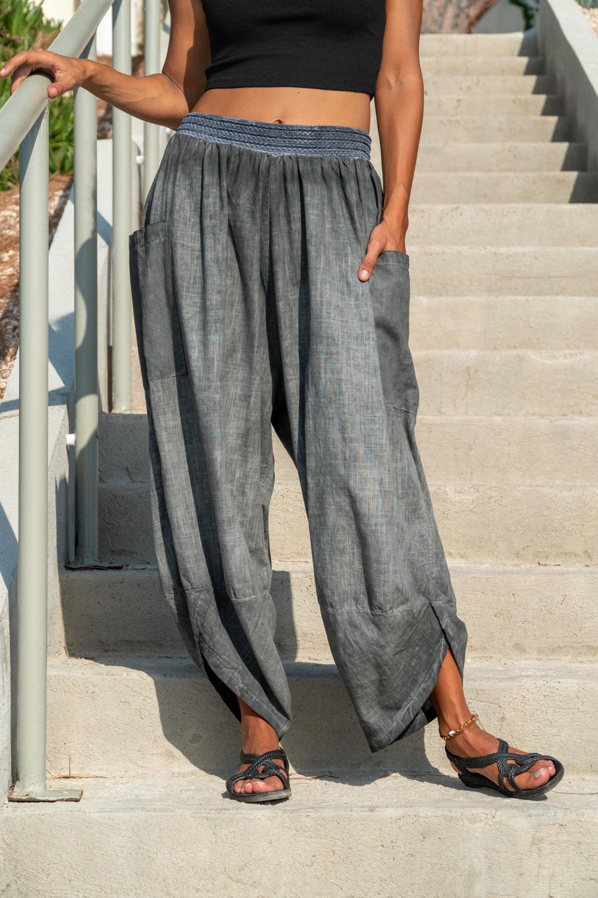 Güneşkızı Kadın Antrasit Yıkamalı Keten Cepli Beli Lastikli Şalvar Pantolon GK-CCK58048 0