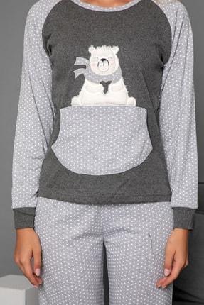 Strawberry Kadın Gri Pamuklu Interlok Pijama Takimi 3