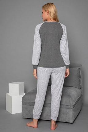 Strawberry Kadın Gri Pamuklu Interlok Pijama Takimi 4
