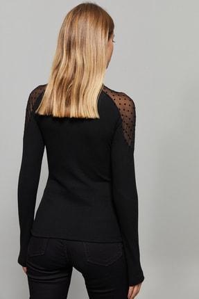 Cool & Sexy Kadın Siyah Omuzları Puantiyeli Tül Bluz EY1098 3