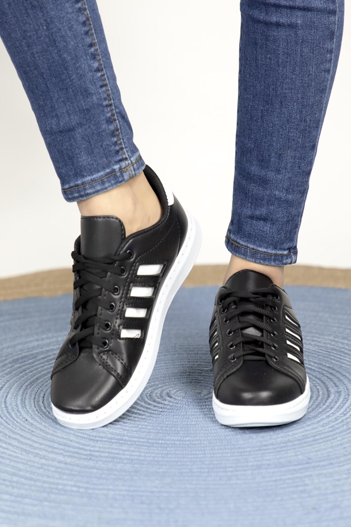 MODANOİVA Kadın Siyah Beyaz Spor Ayakkabı-1021-105-0005-a84