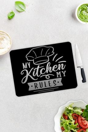 Decorita My Kitchen My Rules | Cam Kesme Tahtası - Cam Kesme Tablası | 30cm x 40cm 0
