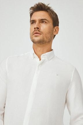Avva Erkek Beyaz Armürlü Alttan Britli Yaka Slim Fit Gizli Patlı Gömlek A02Y2216 1