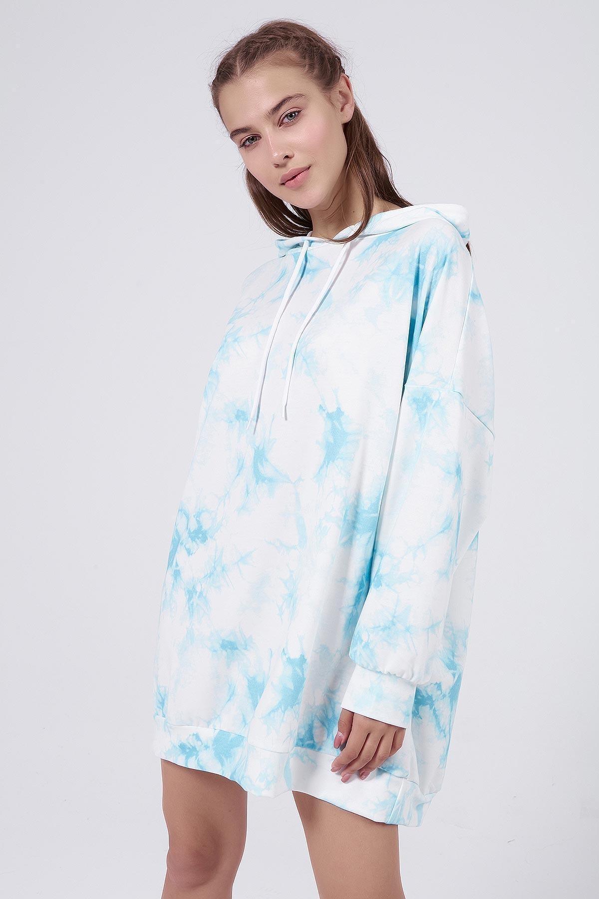 Pattaya Kadın Mavi Batik Desenli Kapşonlu Oversize Sweatshirt Elbise P20W-4145 0