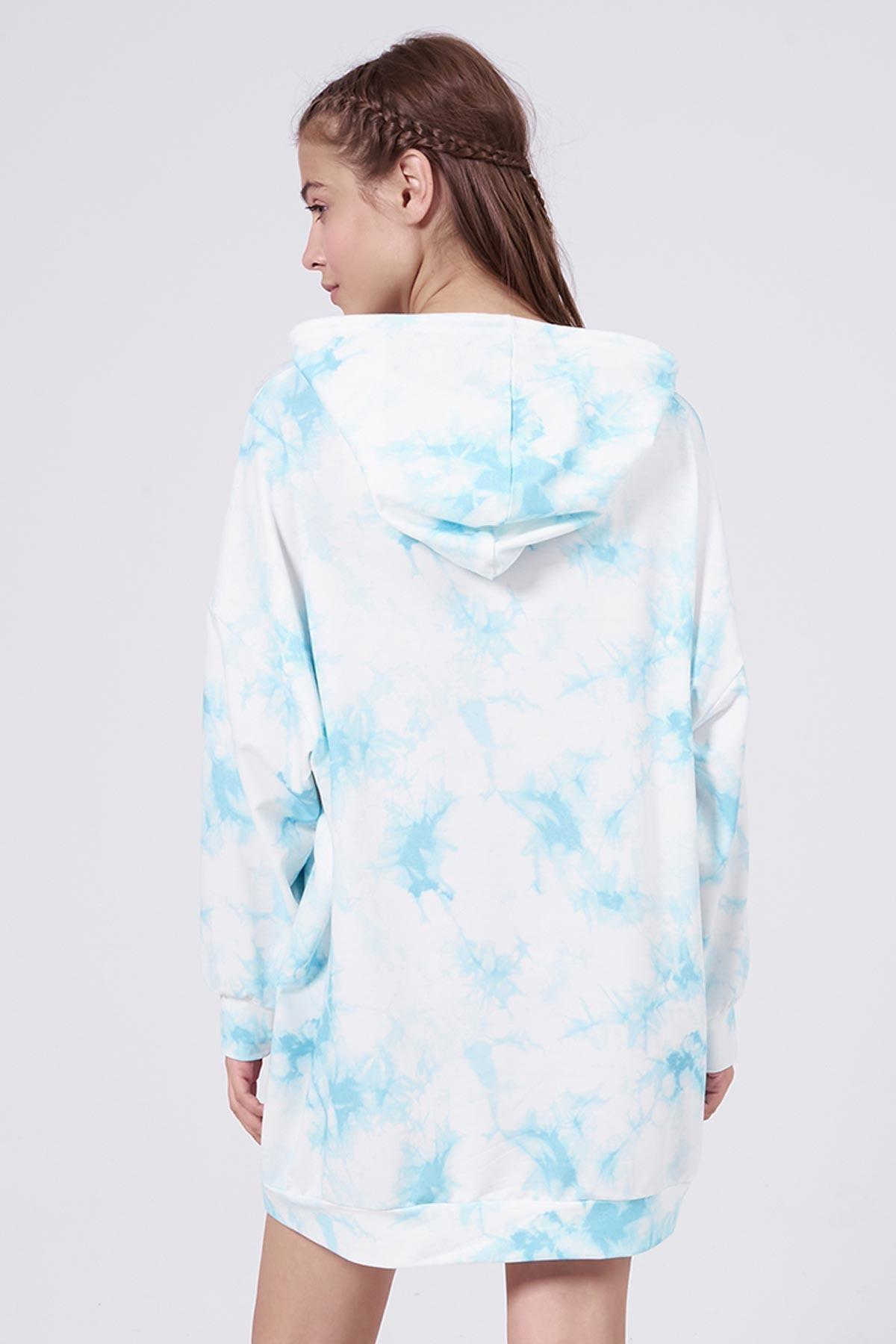 Pattaya Kadın Mavi Batik Desenli Kapşonlu Oversize Sweatshirt Elbise P20W-4145 3