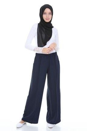 Beli Lastikli Bol Paça Lacivert Kadın Pantolon PRA-2359515-623672