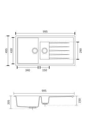 Vıvıano | | 1.5 Göz 50x100 Cm Beyaz Granit Evye 1