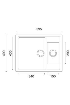 Vıvıano %100 Yerli | | 1.5 Göz 50x60 Cm Siyah Granit Evye 2