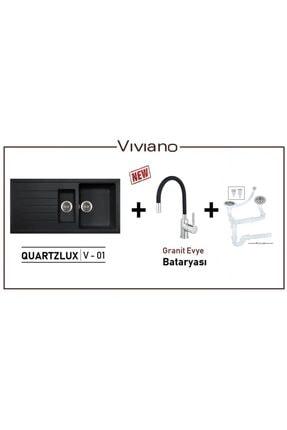 Vıvıano | | 1,5 Göz Siyah Granit Evye + Granit Evye Bataryası 0
