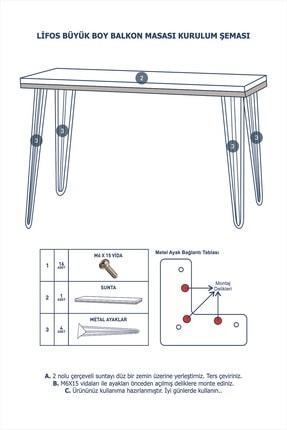 Vudi Design Lifos Büyük Boy Balkon Masası Mermer Desenli 6 Renk 3
