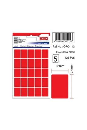 Tanex Ofc-112 Çıkartma Etiket 19x27 Mm Fosforlu Kırmızı 125 Li Paket 0
