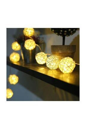 EVİMTATLIEVİM Dekoratif Bambu Hasır Topları Led Işık 10'lu 2