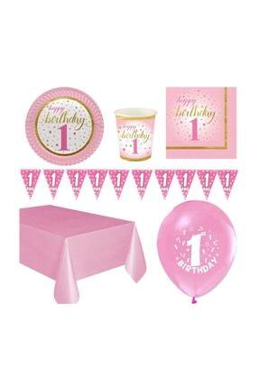 1 Yaş Pembe Doğum Günü Seti 8 Kişilik P0002511