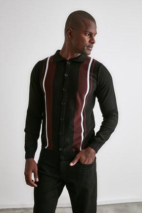 TRENDYOL MAN Siyah Erkek Panelli Triko Hırka TMNAW21HI0399 1