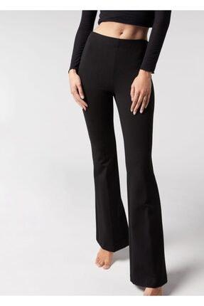 lovebox Kadın Esnek Dalgıç Kumaş Bir Beden Inceltici Görünüm Sağlayan Ispanyol Paça Pantolon 0