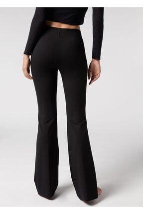 lovebox Kadın Esnek Dalgıç Kumaş Bir Beden Inceltici Görünüm Sağlayan Ispanyol Paça Pantolon 1